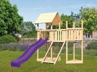 Akubi Spielturm Lotti Satteldach + Schiffsanbau oben + Anbauplattform + Netzrampe + Rutsche in viole