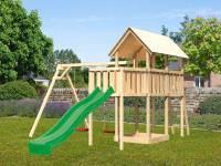 Akubi Spielturm Danny Satteldach + Rutsche grün + Doppelschaukel + Anbauplattform