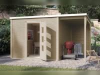 Weka Gartenhaus wekaLine 413 A Gr 2 natur mit Anbau 150 cm