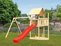 Akubi Spielturm Lotti Satteldach + Schiffsanbau oben + Doppelschaukel + Rutsche in rot