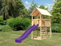 Akubi Spielturm Danny Satteldach + Rutsche violett + Kletterwand