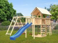Akubi Spielturm Danny Satteldach + Rutsche blau + Doppelschaukelanbau Klettergerüst + Anbauplattform