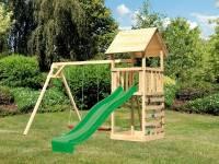 Akubi Spielturm Lotti mit Doppelschaukel, Kletterwand und Rutsche grün