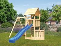 Akubi Spielturm Lotti + Schiffsanbau unten + Einzelschaukel + Rutsche in blau + Kletterwand