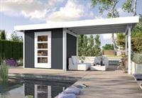 Weka Gartenhaus wekaLine 172 Größe 2 anthrazit Anbau 300 cm