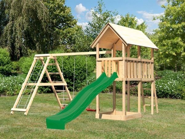 Akubi Spielturm Danny mit Doppelschaukel inkl. Klettergerüst und Rutsche in grün