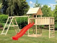 Akubi Spielturm Lotti Satteldach + Rutsche rot + Doppelschaukel Klettergerüst + Anbauplattform XL +