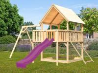 Akubi Spielturm Luis Satteldach + Rutsche violett + Einzelschaukel + Anbauplattform + Netzrampe