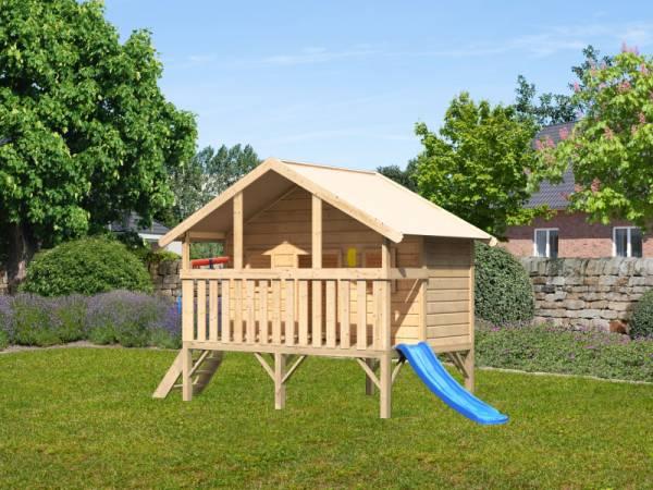 Akubi Spielhaus Maxi Sparset mit blauer Rutsche