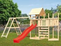 Akubi Spielturm Lotti Satteldach + Schiffsanbau oben + Anbauplattform + Doppelschaukel mit Kletterge