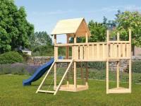 Akubi Spielturm Lotti Satteldach + Schiffsanbau oben + Anbauplattform XL + Netzrampe + Rutsche in bl