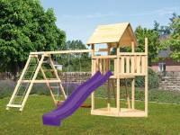 Akubi Spielturm Lotti Satteldach + Schiffsanbau oben + Doppelschaukel mit Klettergerüst + Rutsche in