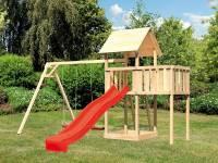 Akubi Spielturm Lotti natur- Anbauplattform- Doppelschaukel- Rutsche rot
