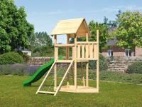 Akubi Spielturm Lotti Satteldach + Schiffsanbau oben + Netzrampe + Rutsche in grün