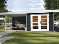 Weka Gartenhaus 126 B Plus Gr. 2 anthrazit mit Anbaudach 300 cm