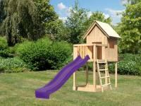 Akubi Spielhaus Frieda mit Anbau und Rutsche in violett