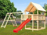 Akubi Spielturm Luis Satteldach + Rutsche rot + Doppelschaukelanbau Klettergerüst + Anbauplattform