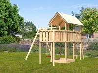 Akubi Spielturm Danny Satteldach + Einzelschaukel + Anbauplattform