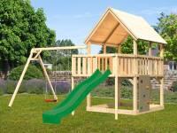 Akubi Spielturm Luis Satteldach + Rutsche grün + Doppelschaukel + Anbauplattform + Kletterwand