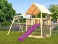 Akubi Spielturm Luis Satteldach + Rutsche violett + Einzelschaukel + Kletterwand