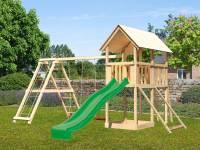 Akubi Spielturm Danny Satteldach + Rutsche grün + Doppelschaukelanbau Klettergerüst + Netzrampe