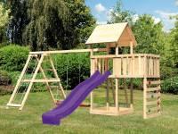 Akubi Spielturm Lotti Satteldach + Rutsche violett + Doppelschaukel Klettergerüst + Anbauplattform +