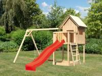 Akubi Spielhaus Frieda mit Doppelschaukel und Rutsche in rot