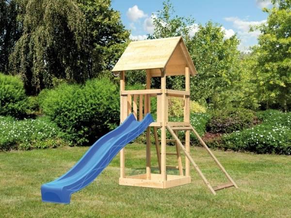 Akubi Spielturm Lotti mit Netzrampe und Rutsche blau