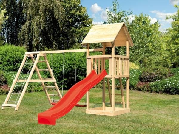 Akubi Spielturm Lotti mit Rutsche in rot und Doppelschaukel inkl. Klettergerüst