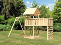 Akubi Spielturm Lotti Satteldach + Einzelschaukel + Anbauplattform XL + Kletterwand