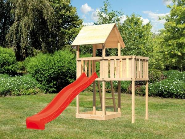 Akubi Spielturm Lotti natur mit Anbauplattform und Rutsche rot
