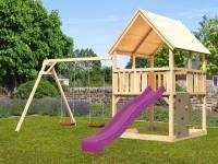 Akubi Spielturm Luis Satteldach + Rutsche violett + Doppelschaukel + Kletterwand