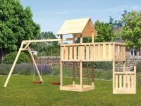 Akubi Spielturm Lotti + Schiffsanbau unten + Anbauplattform XL + Doppelschaukel