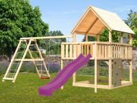 Akubi Spielturm Luis Satteldach + Rutsche violett + Doppelschaukelanbau Klettergerüst + Anbauplattfo