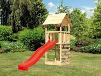 Akubi Spielturm Lotti mit Kletterwand und Rutsche rot