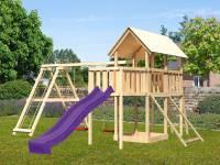 Akubi Spielturm Danny Satteldach + Rutsche violett + Doppelschaukelanbau Klettergerüst + Anbauplattf