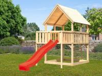 Akubi Spielturm Luis Satteldach + Rutsche rot + Anbauplattform