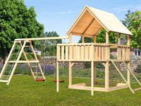 Akubi Spielturm Luis Satteldach + Doppelschaukelanbau Klettergerüst + Anbauplattform + Netzrampe