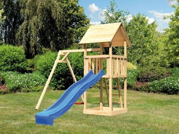 Akubi Spielturm Lotti mit Einzelschaukel und Rutsche blau