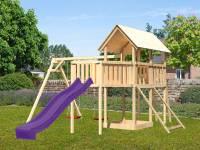 Akubi Spielturm Danny Satteldach + Rutsche violett + Doppelschaukel + Anbauplattform XL + Netzrampe
