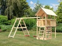 Akubi Spielturm Danny Satteldach + Doppelschaukel Klettergerüst + Kletterwand