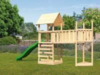 Akubi Spielturm Lotti Satteldach + Schiffsanbau oben + Anbauplattform XL + Kletterwand + Rutsche in
