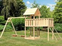 Akubi Spielturm Lotti Satteldach + Doppelschaukel + Anbauplattform XL + Netzrampe