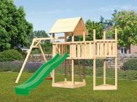 Akubi Spielturm Lotti Satteldach + Schiffsanbau oben + Anbauplattform + Einzelschaukel + Rutsche in