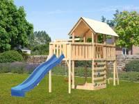 Akubi Spielturm Danny Satteldach + Rutsche blau + Einzelschaukel + Anbauplattform XL + Kletterwand