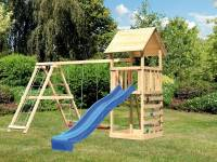 Akubi Spielturm Lotti- Doppelschaukel mit Klettergerüst, Kletterwand und Rutsche in blau