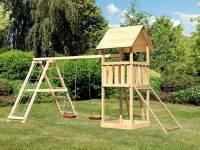 Akubi Spielturm Lotti- Doppelschaukel mit Klettergerüst und Netzrampe