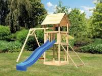 Akubi Spielturm Lotti mit Einzelschaukel, Netzrampe und Rutsche blau