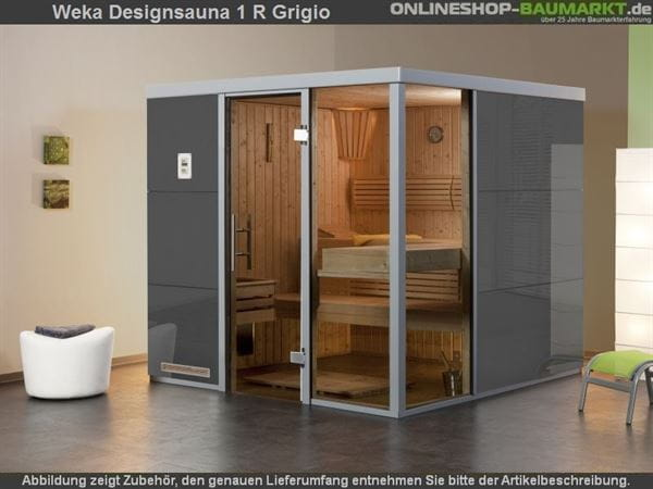 Weka Wellnissage Premium Designsauna 1R Grigio ohne Ofen inkl. Montage