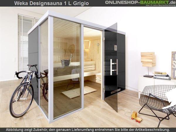 Weka Wellnissage Premium Designsauna 1L Grigio ohne Ofen inkl. Montage